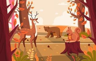 Flora and Fauna Happy in Nature Jungle vector