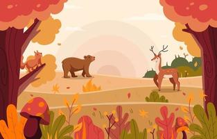 Animal and Plant in Nature Concept vector