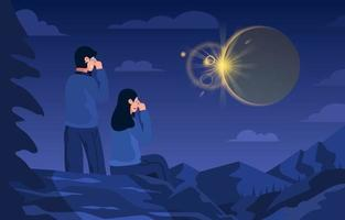 Couple See Solar Eclipse View vector