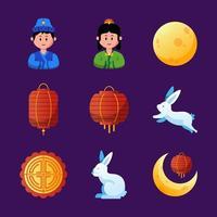 Chuseok Festival Icon Collection vector