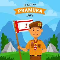Indonesia Scout Boy Celebrating Pramuka Day vector