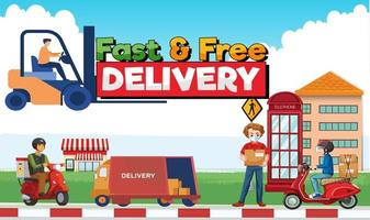 Delivery Service Web Character Concept  Super Delivery vector