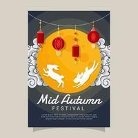 Moon and Rabbit in Mid Autumn Festival Celebration vector