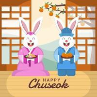 Couple of Rabbit Celebrate Chuseok vector