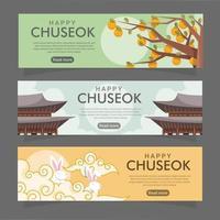 Chuseok Festival Banner Collection vector