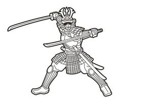 Samurai Warrior or Ronin with Armor and Weapon Outline vector