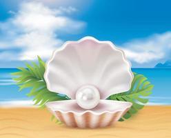 playa de mar y perla en concha. ilustración vectorial vector