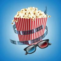 Movie theater flyer with film strip vector