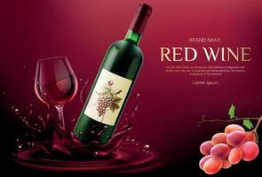 Red wine bottle and glass mockup. vector
