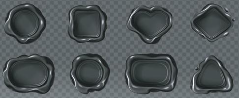Black wax seal collection. vector