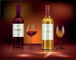 Set realistic vector illustration glass wine bottles
