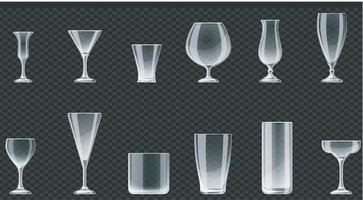 Glasses for drinks on transparent background. Vector illustration