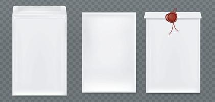 sobres blancos con sello de cera roja. vector