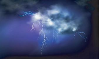 Lightning strikes and thundercloud. vector