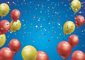 Background with festive realistic balloons. Celebration design vector