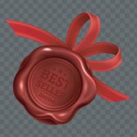 Realistic stamp wax seal with red ribbons. vector