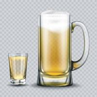 Light beer in a glass and mug. vector