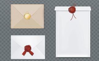 Wax seals envelopes postcards set. vector
