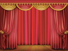 Act drape with red curtains. Vector EPS 10