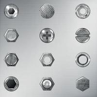 Bolts And Screws Big Set, With Gradient Vector Illustration