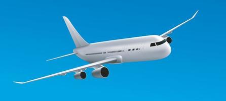 Large heavy modern wide body passenger twin jet engine airplane. vector