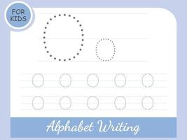 Letter O tracing alphabet worksheets Free Vector