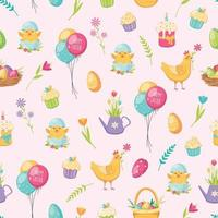Easter Cartoon Seamless Pattern Vector Illustration