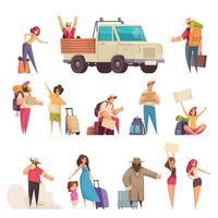 Hitchhiking Cartoon Set Vector Illustration