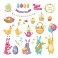Easter Cartoon Set Vector Illustration