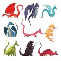 Dragons Monsters Cartoon Set Vector Illustration