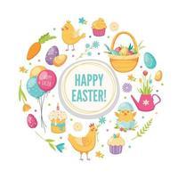 Easter Cartoon Round Concept Vector Illustration
