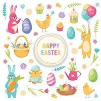 Happy Easter Cartoon Set Vector Illustration