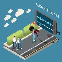 Ilustración de vector de fondo isométrico de podcast de audio