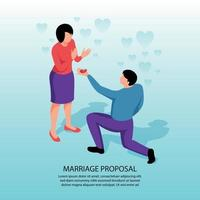 Marriage Proposal Isometric Background Vector Illustration