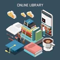 Ilustración de vector de concepto de diseño isométrico de biblioteca en línea