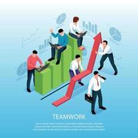 Teamwork Isometric Composition Poster Vector Illustration