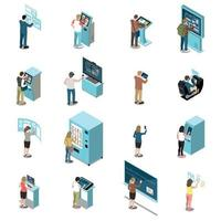 People And Interfaces Color Isolated Icons Vector Illustration