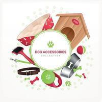 Dog Accessories Decorative Round Frame Vector Illustration