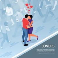 Lovers On Street Background Vector Illustration