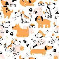 Seamless pattern of cute dog puppy. vector