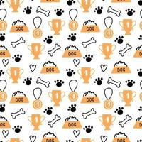 Seamless pattern of cute dog puppy symbol vector