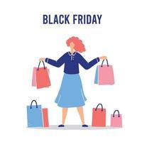 Shopping cartoon woman for sale concept vector