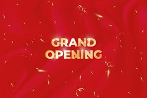 grand opening banner with confetti on red background. vector