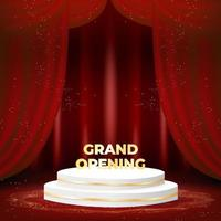 grand opening banner with podium on red background. vector