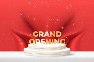 grand opening banner with podium and confetti on red background. vector