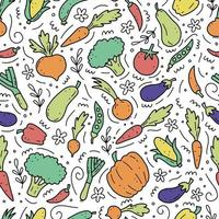 Hand drawn seamless pattern of vegetables. Vector illustration.