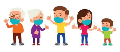 Family with grandparent, parent and kid wearing medical face masks vector