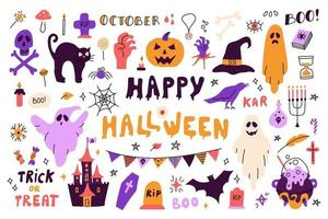 Large set with characters and icons for Halloween vector