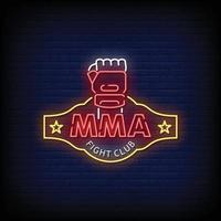 MMA Fight Club Neon Signboard On Brick Wall vector