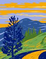 Mt Washburn Trail Yellowstone National Park WPA Art vector